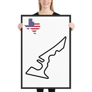 Austin Texas Circuit of The Americas Track Map, Framed poster