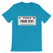 Load image into Gallery viewer, Design Your Own Texas State License Plate, Short-Sleeve Unisex T-Shirt