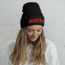 Load image into Gallery viewer, Alaska Text Red, Unisex Cuffed Beanie