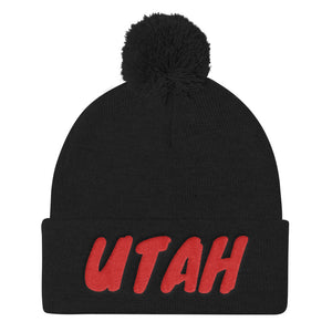 Utah Text Red, Pom Pom Knit Cap