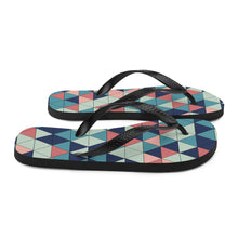 Load image into Gallery viewer, Multicolor Triangle Pattern, Unisex Sublimation Flip-Flops