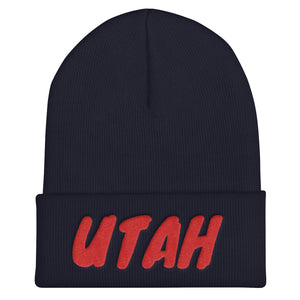 Utah Text Red, Unisex Cuffed Beanie