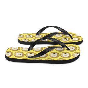 Dogecoin Cryptocurrency Logo Pattern Yellow Style B, Unisex Flip-Flops