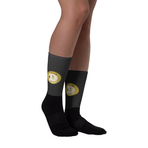 Dogecoin Cryptocurrency Logo, Black Foot Sublimated Socks