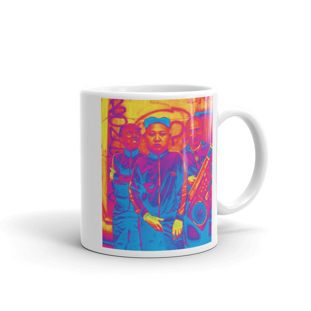 Trump Kim Putin Atomic Fun White Glossy Coffee Mug