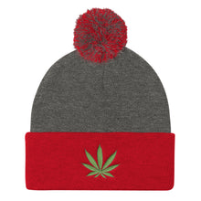 Load image into Gallery viewer, Cannabis Leaf Green, Pom Pom Knit Cap