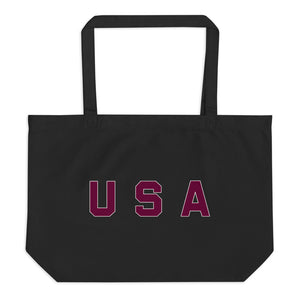 USA Text, Large Eco Tote Bag Black
