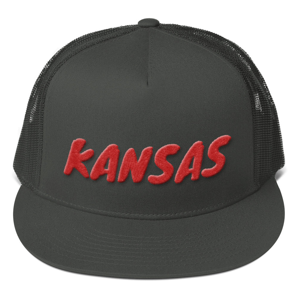 Kansas Text Red 3D Puff, Mesh Back Snapback Hat CHARCOAL GRAY