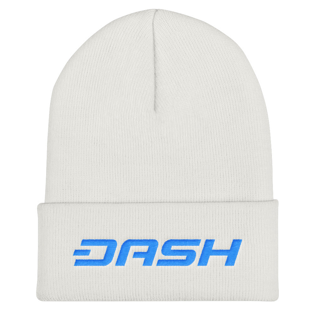 Dash Cryptocurrency Logo Text, Unisex Cuffed Beanie White