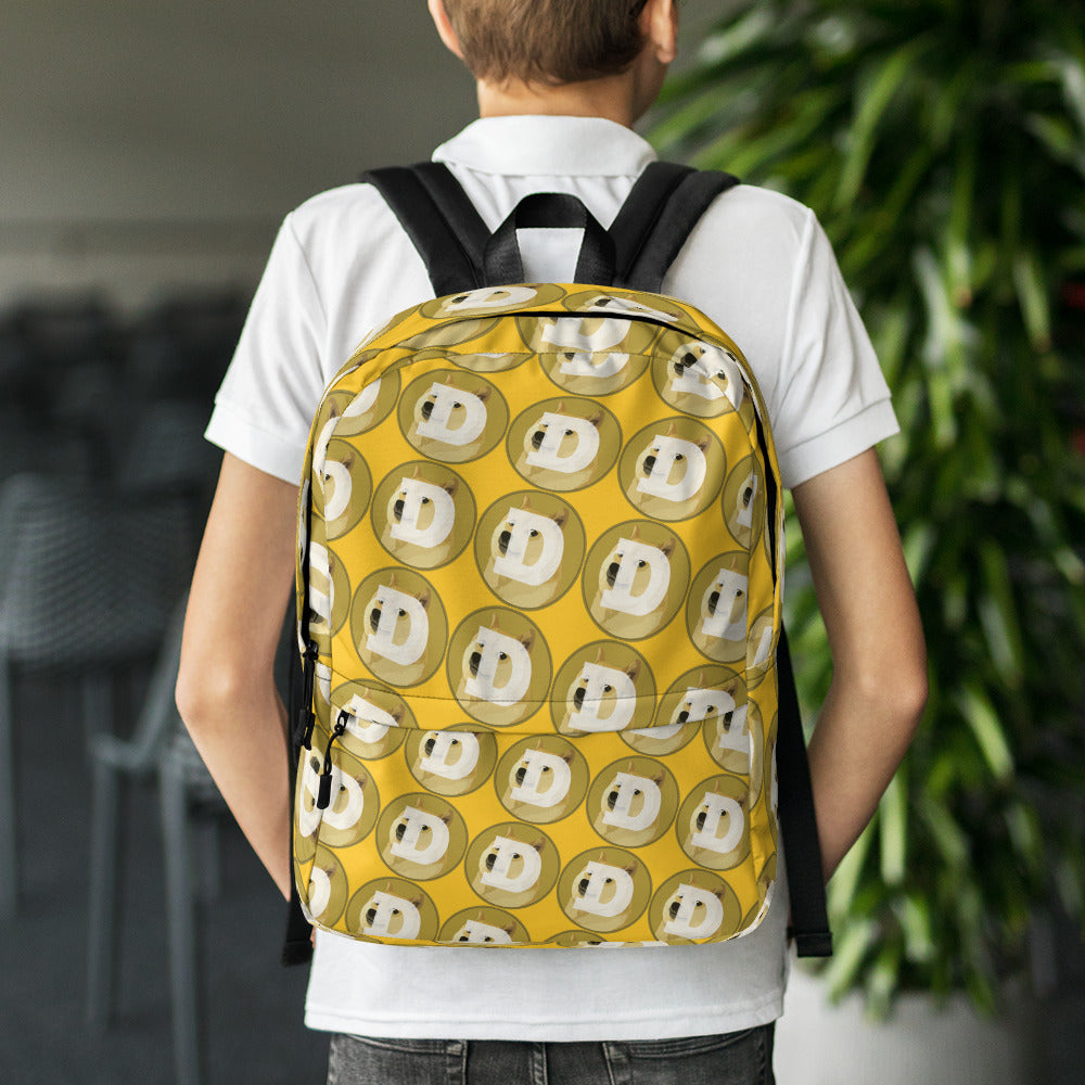 Dogecoin Logo Pattern, Backpack Yellow