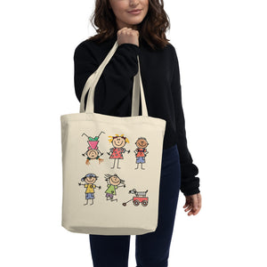 Female model carrying eco tote bag
