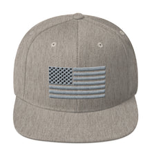Load image into Gallery viewer, Gray and Black US Flag, Snapback Hat Heather Gray