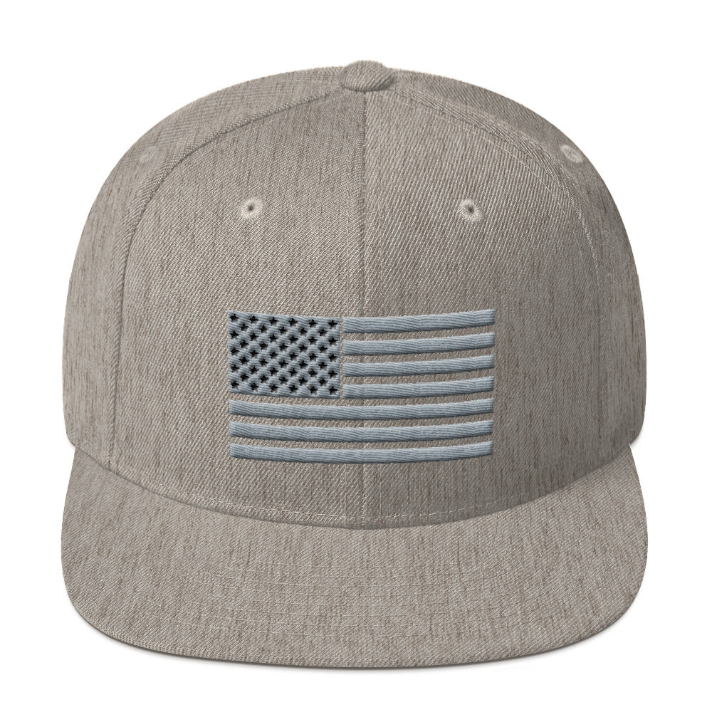 Gray and Black US Flag, Snapback Hat Heather Gray