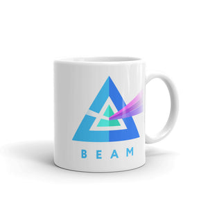Beam Cryptocurrency Logo, White Glossy Coffee Mug
