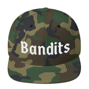 Bandits Text White 3D Puff, Snapback Hat