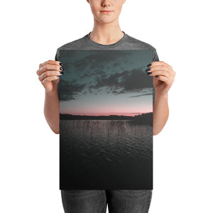 Beautiful Summer Night Sunset at Lake, Photo paper poster
