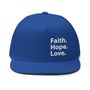 Faith Hope Love Embroidered Flat Bill Cap