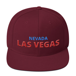 Las Vegas Nevada Red Blue Text Partial 3D Puff, Snapback Hat