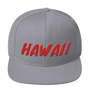 Hawaii Text Red 3D Puff, Snapback Hat