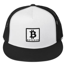 Load image into Gallery viewer, Bitcoin BTC Symbol and Text Framed, Trucker Cap