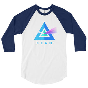 Beam Cryptocurrency Logo, 3/4 Sleeve Raglan Shirt