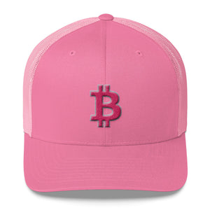 Bitcoin BTC Symbol Hot Pink, Retro Trucker Cap