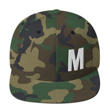 Load image into Gallery viewer, Alphabet Letter M, Snapback Hat Green Camo