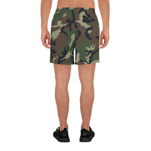 Camouflage Pattern Printed, Men's Athletic Long Shorts