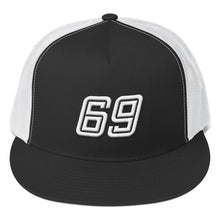 Load image into Gallery viewer, Number 69 White 3D Puff, Classic Trucker Cap