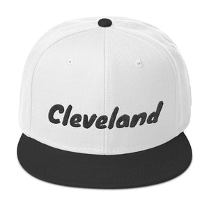 Cleveland Text Black, Snapback Hat
