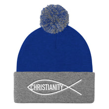 Load image into Gallery viewer, Christian Symbol Ichthys Fish With Christianity Text White, Pom Pom Knit Cap