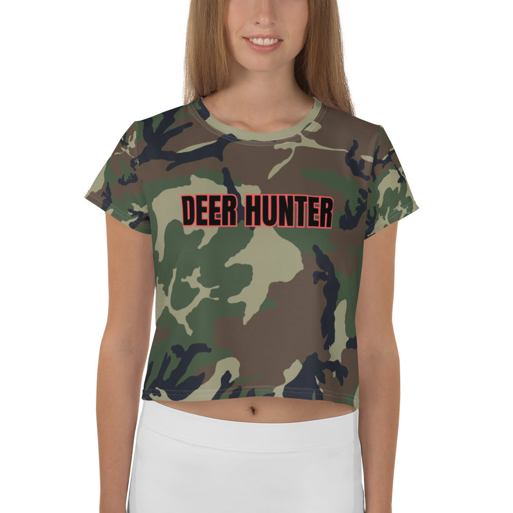 Deer Hunter Text Camo Print, Women's Crop Tee