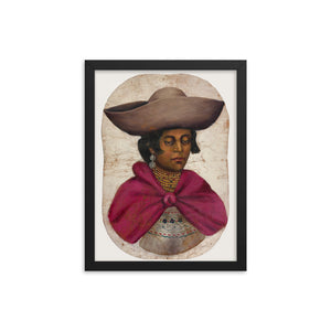 Poster of oil painting on goatskin showing Quechua indian woman