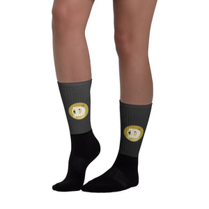 Dogecoin Cryptocurrency Logo, Black Foot Sublimated Socks 2