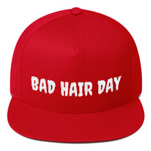 Load image into Gallery viewer, Bad Hair Day Text, Flat Bill Snapback Hat