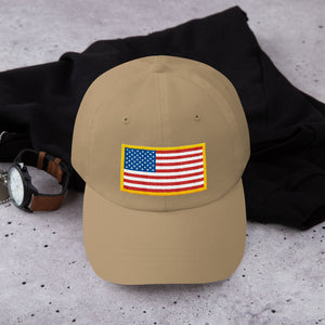 US Flag Patch Style With USA Text, Dad hat Unisex KHAKI