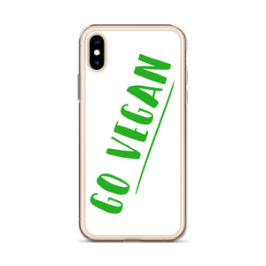 Go Vegan Text Green, iPhone Case