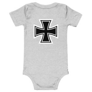 Maltese Cross Flames Gray, Baby Short Sleeve Onesie