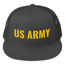 Load image into Gallery viewer, US Army Golden Text, Mesh Back Snapback Hat CHARCOAL GRAY