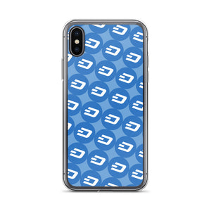 Dash Cryptocurrency Logo Pattern, iPhone Case Blue