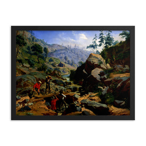 Miners in the Sierras, Framed Poster