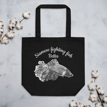 Load image into Gallery viewer, Betta Siamese Fighting Fish, Eco Tote Bag Black