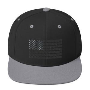 US Flag Black and Gray 3D Puff Embroidered Snapback Hat