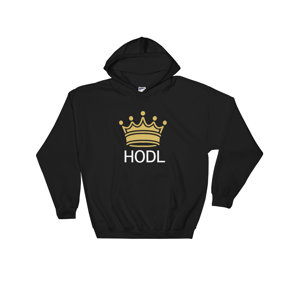 HODL Crypto Currency Adage Text With Crown, Unisex Hooded Sweatshirt