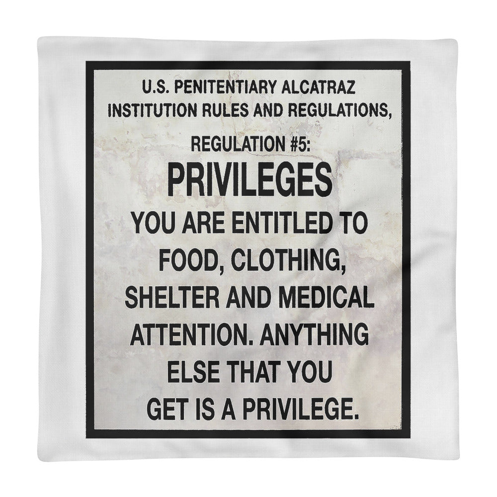 Alcatraz Prison Regulation Nr 5 Sign, Premium Pillow Case
