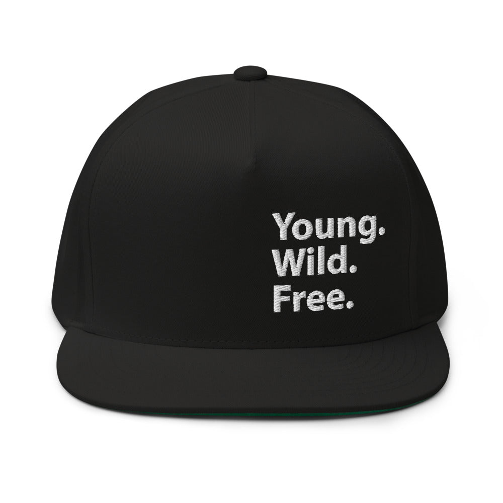 Young Wild Free Embroidered Flat Bill Cap