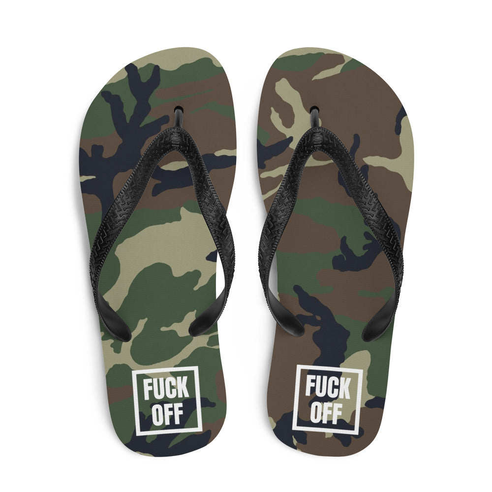 Fuck Off Square White Camouflage, Unisex Shoes, flops