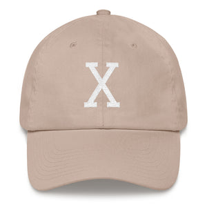 Malcom White Letter X Flat Embroidery, Dad hat