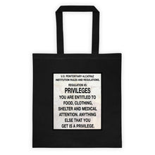 Load image into Gallery viewer, Alcatraz Prison Regulation Nr 5 Sign, Tote Bag Black