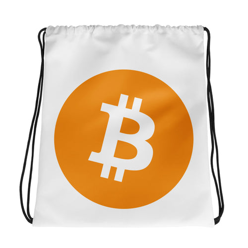 Bitcoin Cryptocurrency Logo, Drawstring bag